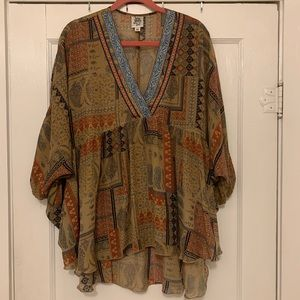 printed boho tunic with colorful neck detail